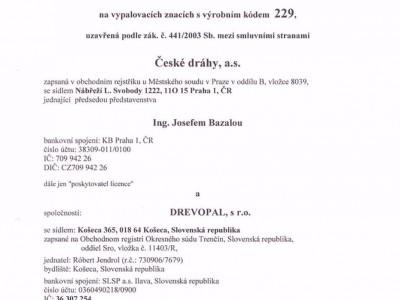 Licenčná zmluva na ochranné známky ČD